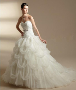 Satin and Tulle Ballgown with Lace
