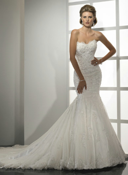 Mermaid Strapless Lace Wedding Gown