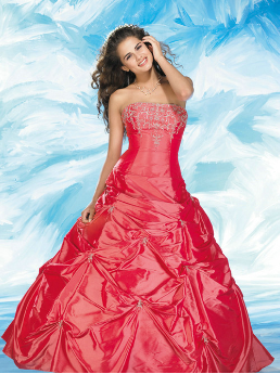 Strapless Taffeta Quinceanera Gown
