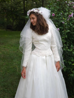 Paloma Blanca Long Sleeved Lace Wedding Gown for rent - size 6