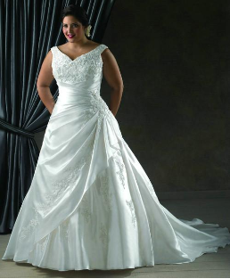 Plus Size Satin and Lace Wedding Dress