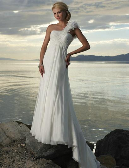 Chiffon One-Shoulder Beach Wedding Dress