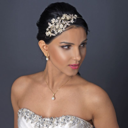 Diane Rhinestone and Ivory Pearl Floral Side Headband