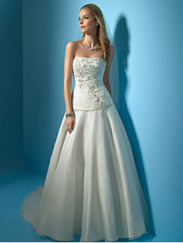 Dropped Waist Embroidered Satin and Organza Wedding Gown