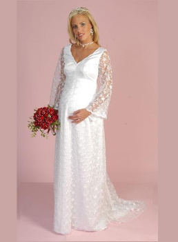 Elegant Long Sleeves Satin and Lace Maternity Wedding Gown