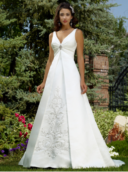 Embroidered A-Line Satin Wedding Dress