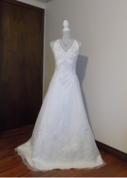 Mon Cheri Embroidered Organza over Satin Halter Neck Wedding Gown in stock size 16