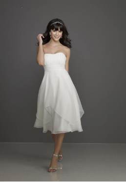 Empire Line Knee Length Wedding Dress