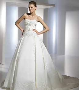Exquisite Strapless Satin Princess Style Ball Gown