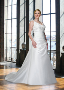 Figure Flattering Taffeta Plus Size Wedding Dress
