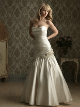 Satin Strapless Fit and Flare Bridal Gown