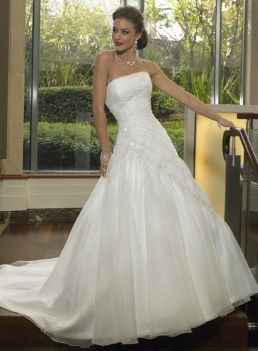 Graceful Organza over Satin Wedding Gown