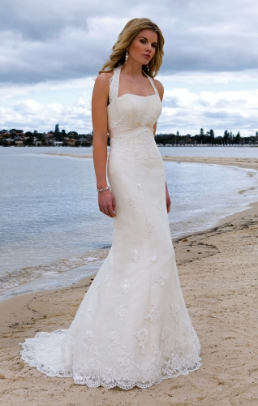Lace over Satin Halter Neckline Wedding Dress