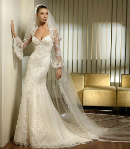 Lace over Satin Wedding Gown