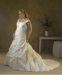 Mermaid Style Plus Size Taffeta Wedding Gown