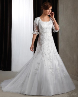 Modest Satin and Lace Bridal Gown