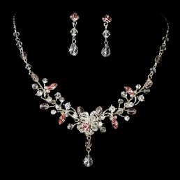 Lady Louisa Silver Pink Crystal Necklace and Earring Set