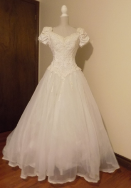 Off-the-Shoulder Bridal Ball Gown in stock size 14