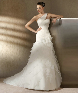 One Shoulder Satin and Organza Euro Style Wedding Dress