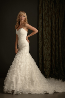 Organza Fit and Flare Strapless Wedding Gown