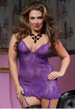 Paisley Pleasure Plus Size Lace Chemise and Thong