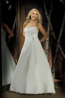 Plus Size Satin and Chiffon Gown