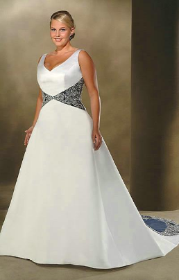 Queen-Size Embroidered Satin Wedding Dress