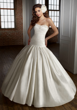 Satin Fit and Flare Wedding Gown