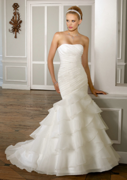 Satin and Organza Fit and Flare Bridal Gown