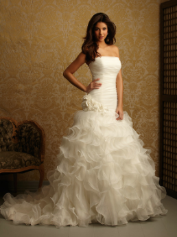Satin and Organza Fit and Flare Strapless Wedding Gown