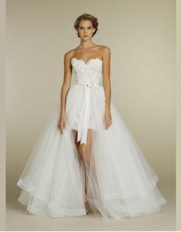 Satin and Organza High Low Strapless Wedding Gown