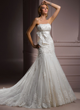 Satin and Organza Strapless Wedding Gown