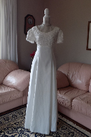 Short Sleeved Satin Gown with Lace Bodice in stock size 10
