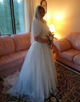 Alfred Sung Satin and Organza Bridal Gown for rent - size 18