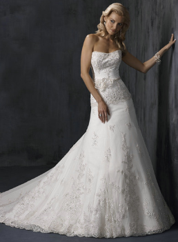 Strapless Sweet Lace and Tulle Gown