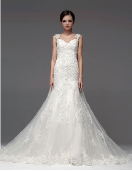 Sweetheart Neckline Wedding Gown with Organza Overlay and Cap Sleeves