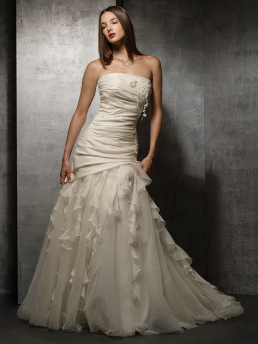 Taffeta and Organza Strapless Wedding Dress