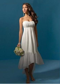 Simple Strapless Chiffon High-Low Casual Wedding Dress