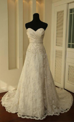 Alluring Strapless Satin and Lace Gown