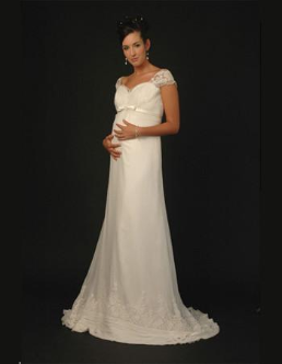 Vintage-look Empire Line Maternity Bridal Gown with Short Sleeves