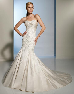 Strapless Mermaid Style Satin Sweetheart Neckline Wedding Gown