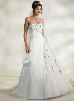 Embroidered Satin Princess Wedding Dress