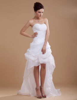 Fabulous Sweetheart High-Low Organza Bridal Dress