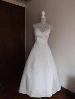 Satin Wedding Gown with Diamante Straps and Full Skirt for rent - size 12