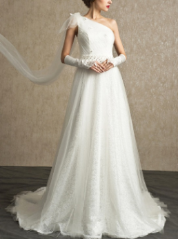 Organza over Lace One Shoulder Wedding Gown