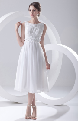 Simple Tea Length Chiffon Wedding Dress