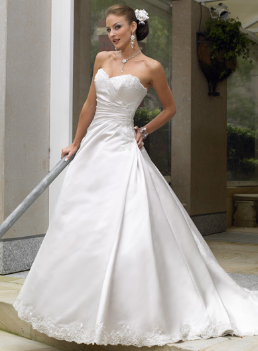 A-Line Strapless Satin and Lace Bridal Gown
