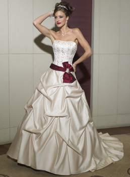 Satin and Tulle Strapless Wedding Ball Gown