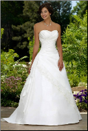 Strapless Sweetheart Neckline Taffeta Wedding Dress