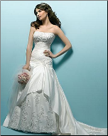 Embroidered Princess Satin Wedding Dress